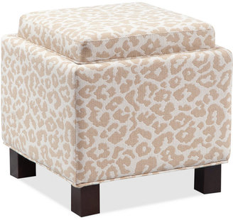 Kylee Leopard Fabric Accent Storage Ottoman with Pillows,