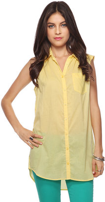 Forever 21 Longline Sleeveless Button Up