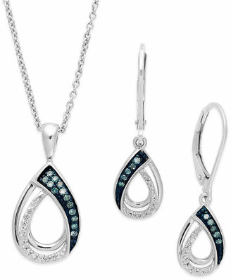 Macy's Blue and White Diamond Jewelry Set in Sterling Silver (1/4 ct. t.w.)