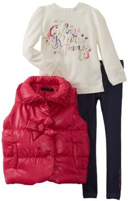 Calvin Klein Girls 2-6X Toddler Puffy Jacket With Jean And Tee