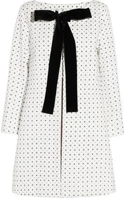 Miu Miu Velvet-trimmed printed cotton coat