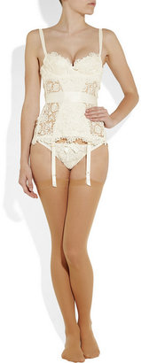 Agent Provocateur Gene guipure lace and silk-satin corset