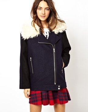 Asos Cocoon Biker With Contrast Faux Fur Collar