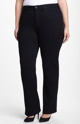 NYDJ 'Hayden' Embroidered Pocket Stretch Straight Leg Jeans (Black) (Plus Size)