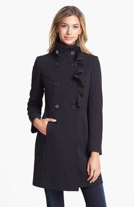 T Tahari 'Callie' Ruffle Front Double Breasted Coat