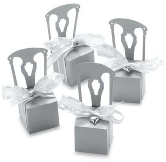 Kate Aspen Miniature Silver Chair Favor Box with Heart Charm and Ribbon (Set of 12)
