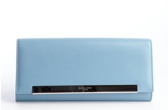 Saint Laurent Blue Smooth Leather Foldover Clutch