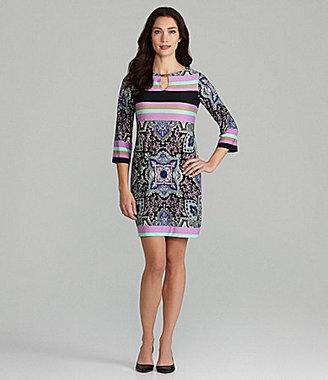 Donna Morgan Mix-Print Keyhole Dress