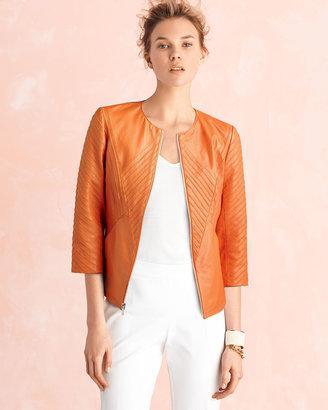 Neiman Marcus Ribbed Leather Jacket, Orange