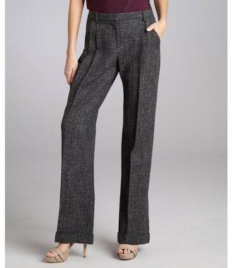 Robert Rodriguez charcoal wool blend pleated wide leg cuffed pants