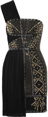 Versace Leather-trimmed studded plissé and scuba-jersey dress