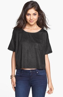 Painted Threads Faux Suede Pocket Tee (Juniors)