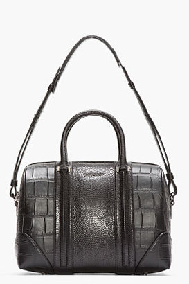 Givenchy Black Croc-Embossed Leather Medium Lucrezia Duffle Bag
