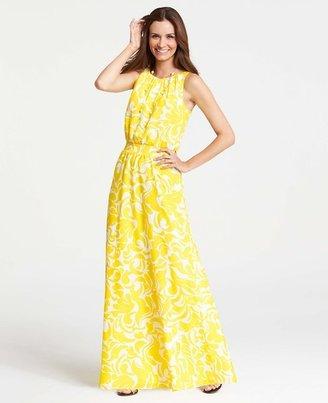 Ann Taylor Petite Summer Scroll Print Sleeveless Maxi Dress