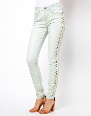 Asos Aztec Embroidered Panel Skinny Jean