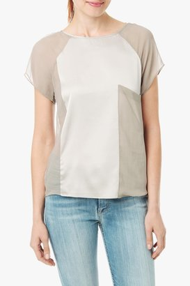 7 For All Mankind Fabric Blocked Tee In Taupe
