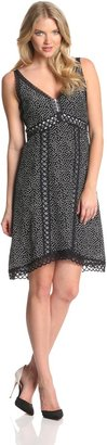 Nanette Lepore Women's Daring Silk Polka Dot Sleeveless Dress