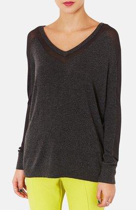 Topshop Sheer Panel V-Neck Sweater