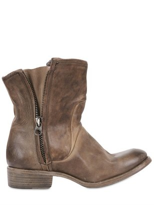 Nylo 40mm Vintage Calfskin Zip Up Biker Boots