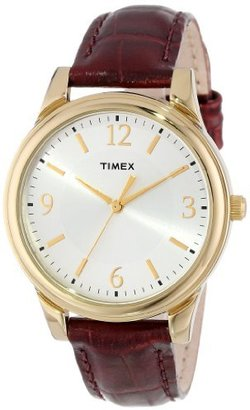 Timex Women's T2P2542M Oxblood Croco Pattern Leather Strap Watch $34.99 thestylecure.com