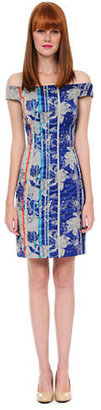 Kay Unger Off The Shoulder Daytime Print Dress