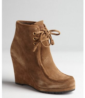 Prada Short cinnamon suede lace-up wedge heel booties