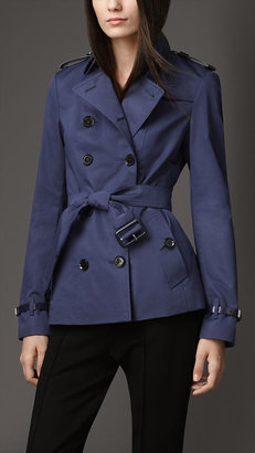 Burberry Leather Detail Double Sateen Trench Jacket