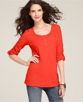 Style&Co. Top, Three-Quarter-Sleeve Ruched Cotton Tee