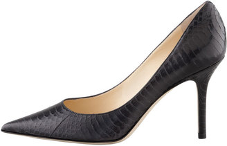 Jimmy Choo Agnes Snake Pointed-Toe Pump, Black