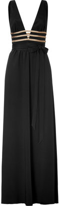 Azzaro Black and Gold Deep V-Neck Gown