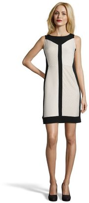 SD Collection nude and black shirred stretch jersey sleeveless dress
