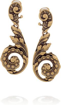 Oscar de la Renta 24-karat gold-plated clip earrings