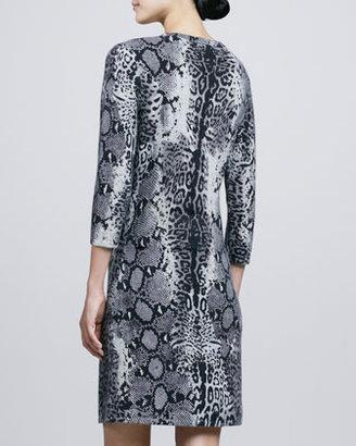 Neiman Marcus Animal-Print Faux-Wrap Cashmere Dress