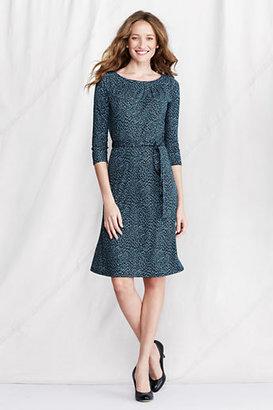 Lands' End Women's Petite Pattern Matte Jersey Pleat Neck Dress