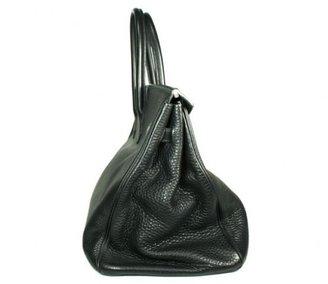 Hermes very good (VG Black Clemence Leather 35cm Birkin Bag with Palladium Hardware