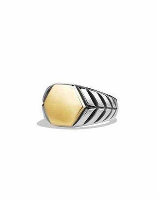 David Yurman Modern Chevron Signet Ring with Gold $825 thestylecure.com