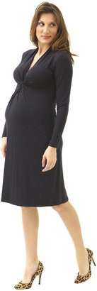 Olian Long Sleeve Front Gather Dress - Black-Black-Large