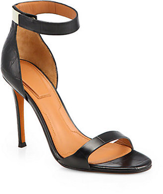 Givenchy Crocodile-Embossed Leather Ankle-Strap Sandals