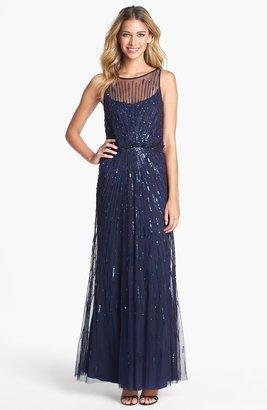 Aidan Mattox Illusion Yoke Sequin Mesh Gown (Online Only)