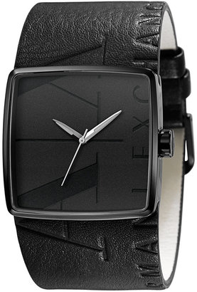 A|X Armani Exchange Watch, Black Leather Cuff Strap 38mm AX6002