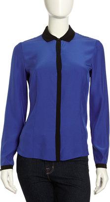Lafayette 148 New York Haiden Matte Silk Blouse, Electric Blue/Black