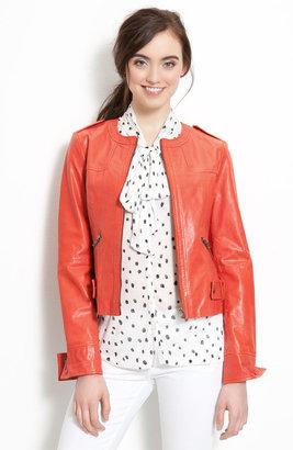Velvet Heart Collarless Leather Jacket