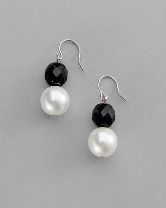 White House Jet & Glass-Pearl Earring