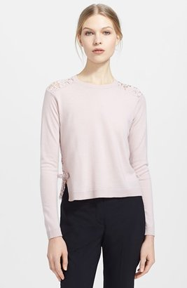 Valentino Lace Back Wool & Cashmere Sweater
