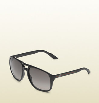 Gucci medium rectangle frame sunglasses with square G logo on web temples.