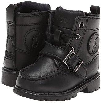 Polo Ralph Lauren Ranger Hi II (Toddler) (Black Leather) Boys Shoes