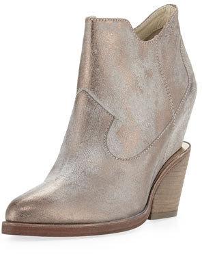Ash Lula Metallic Wedge Ankle Boot, Taupe/Pewter