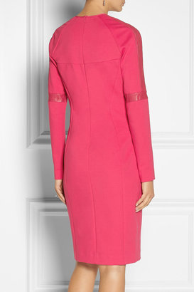 DKNY Leather-trimmed stretch-ponte dress