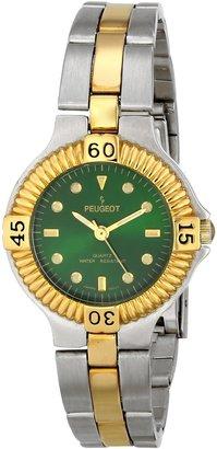 Peugeot Ladies Two-Tone Round Case Green Dial Luminous Hour Markers Dress Bracelet Watch! #182GR