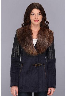 Jessica Simpson Faux Shearling Coat w/ Faux Fur Collar
